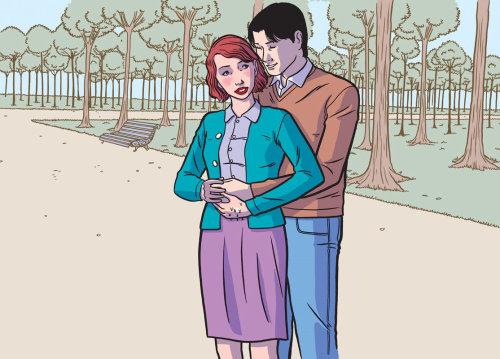 lovely couple hug artwork