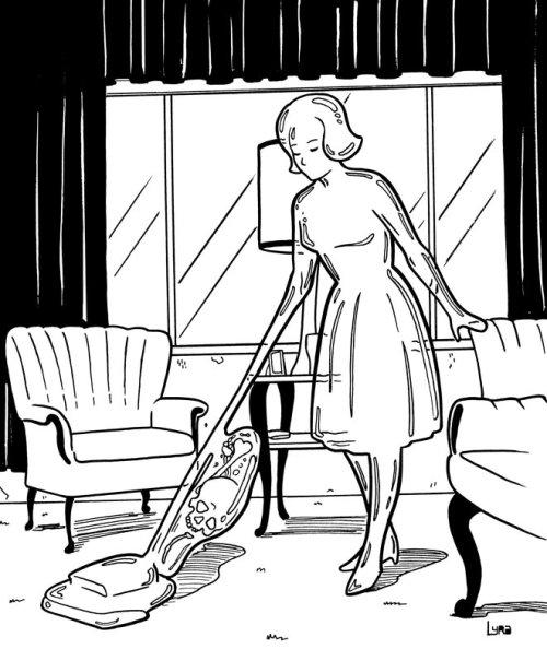 imagem de menina limpando o chão