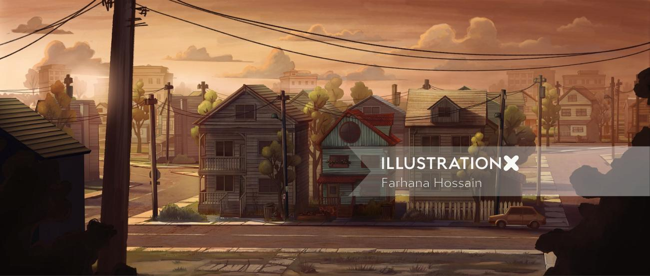 Street Scene Painting By Farhana Hossain