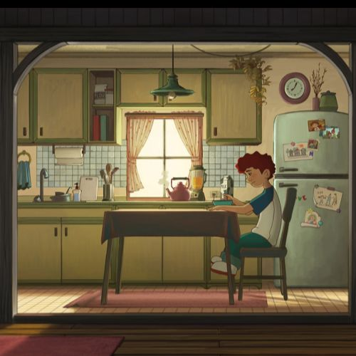 Visual art of boy sitting at dining table  in suburban kitchen for The Dumb Elephant film