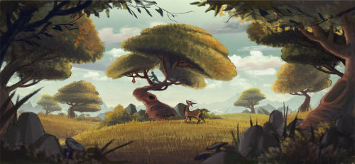Illustration of boy and deer playing in nature