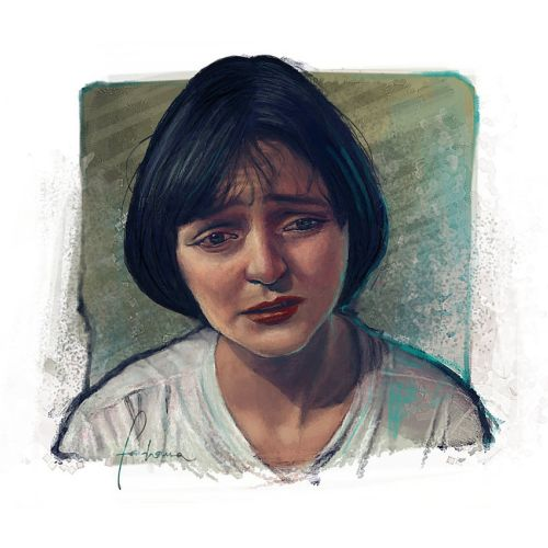 Digital art of a pulp fiction girl