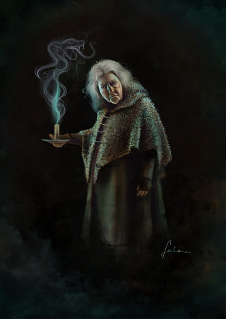 Drawing of Bathilda Bagshot holding candle