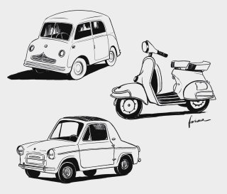 Pencil sketch for cars and vespa