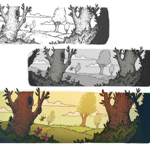 Line art of landscape and trees