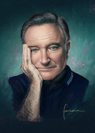 Portrait illustration of Robin Williams
