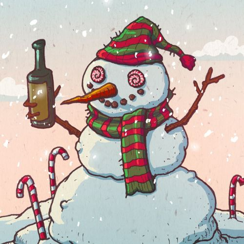 Illustration of Christmas snowman with bottle