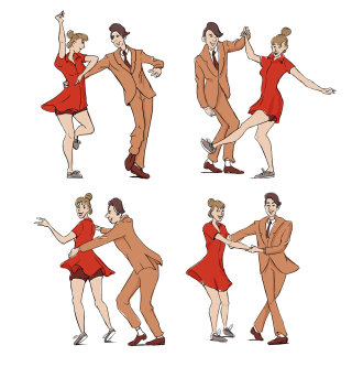 Colourful drawing of swing dancers