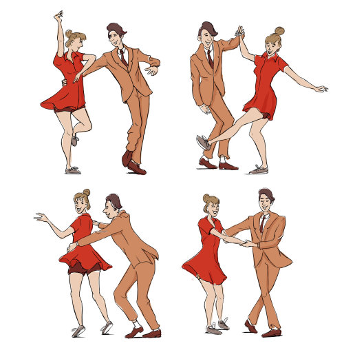 Colorful drawing of swing dancers