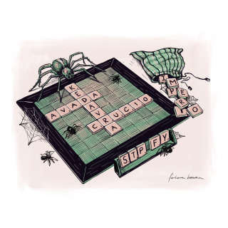 Illustration of spider on scrabble board