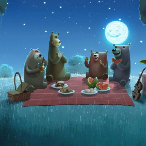 Character illustration of bears eating