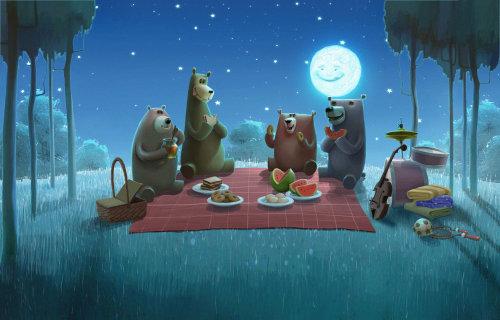 Character illustration of bears eating
