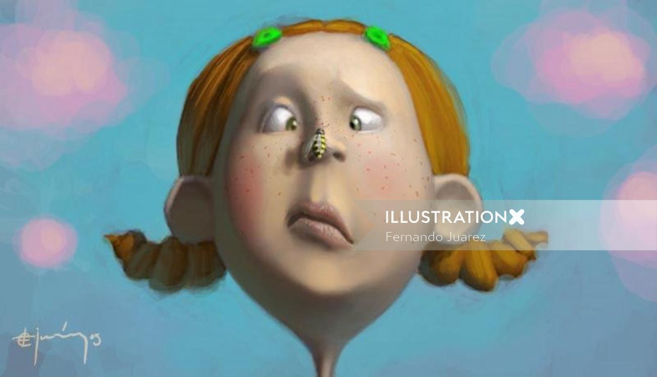 Character illustration of little girl with a wasp on her nose