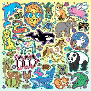 Animal stickers collage art