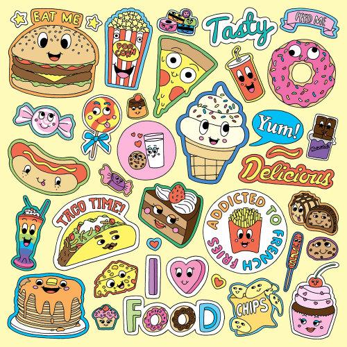Conjunto de comida e bebida ilustração