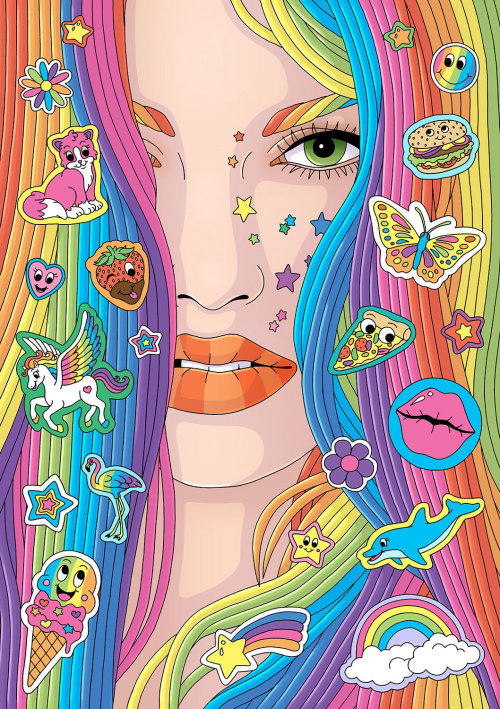 Retrato feminino com cabelo colorido arco-íris