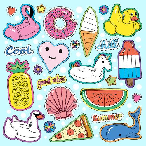 Cartaz de colagem ícone de flutuadores de piscina