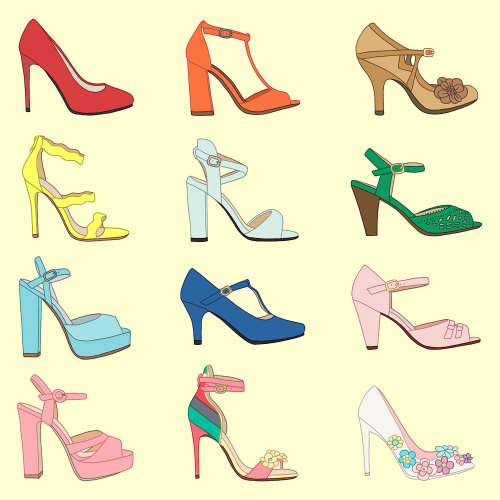 Set of high heel shoes