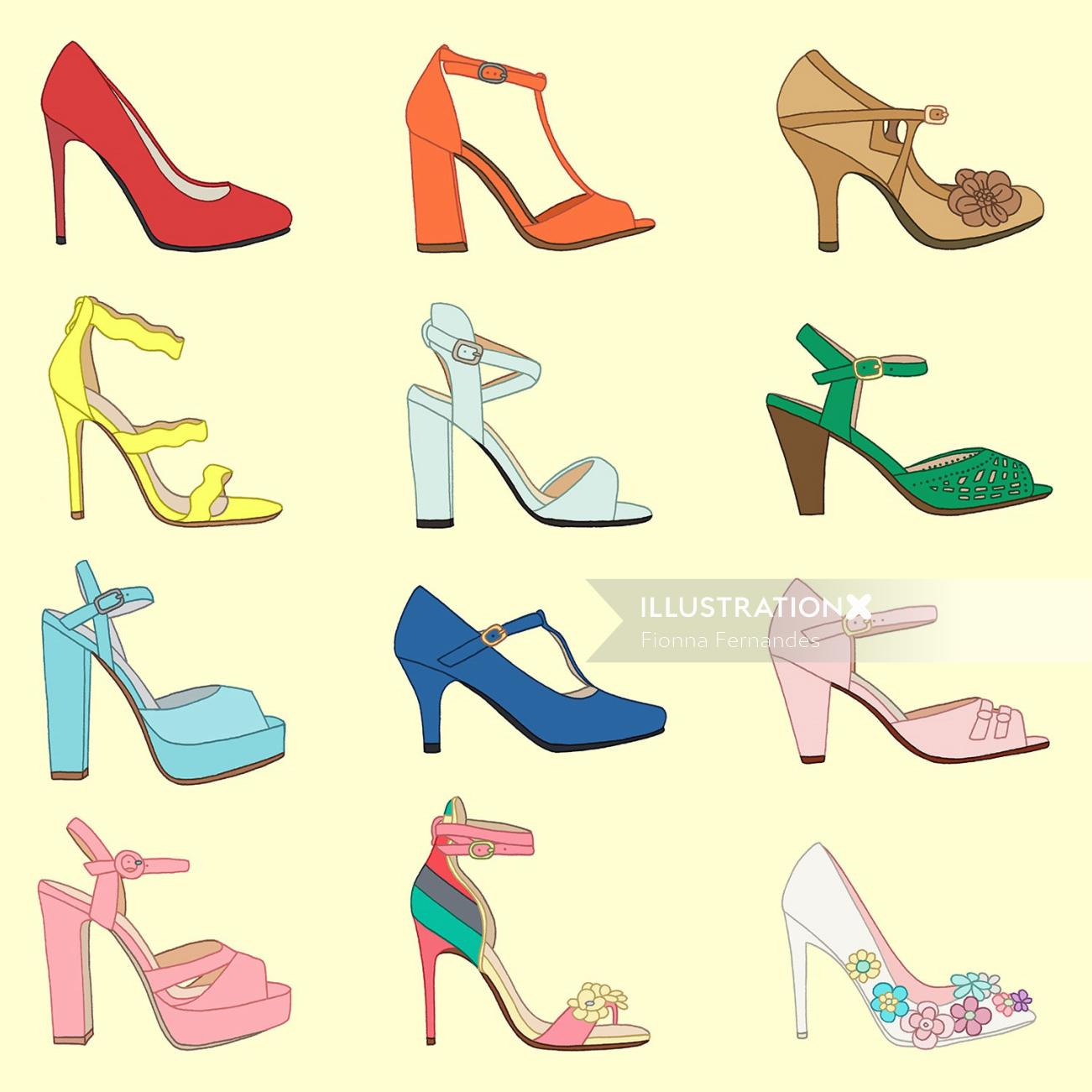 Set of high heel shoes