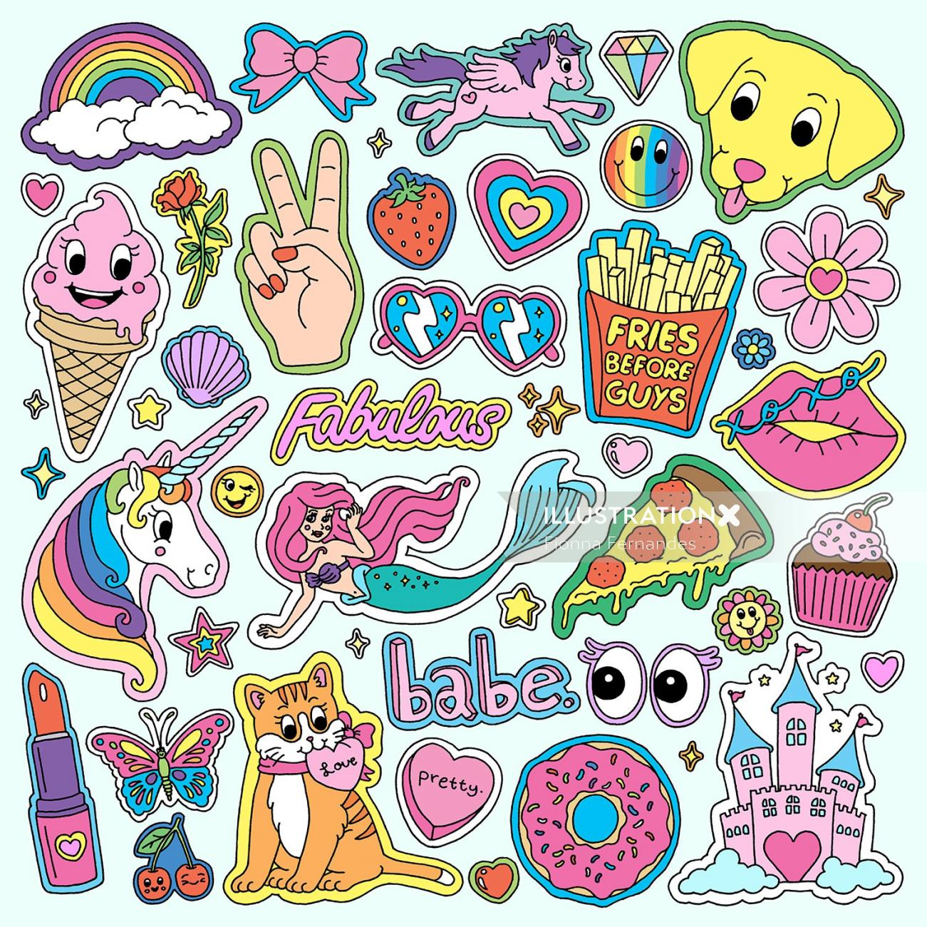 Illustration for girl vibes sticker collection