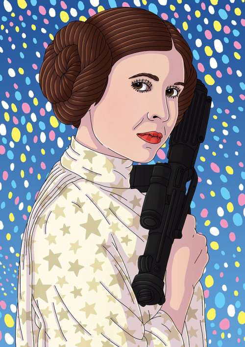 Arte do retrato de Carrie Fisher