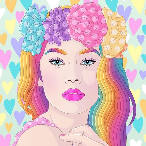 Portrait of rainbow dreamy girl