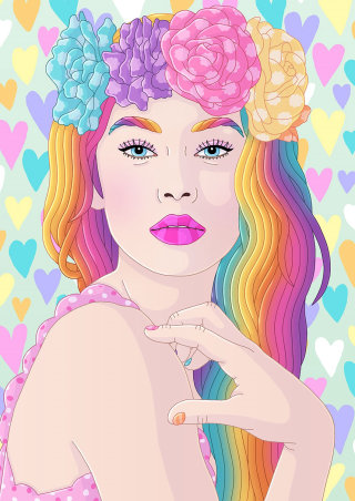 Portrait of rainbow dreamy girl