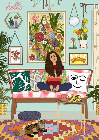 An illustration of woman relaxing on a sofa