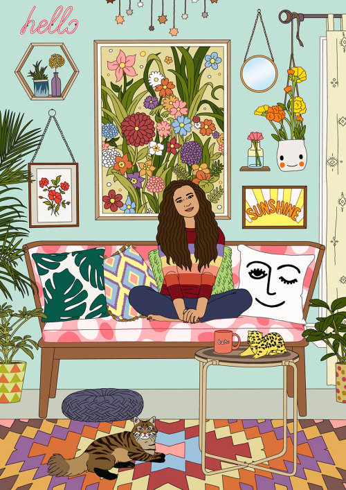 Uma ilustração da mulher relaxando em um sofá