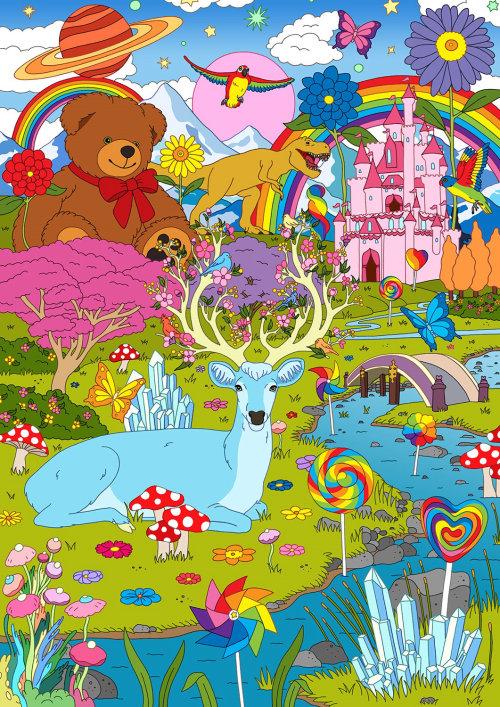 Ilustração bonita da paisagem da fantasia