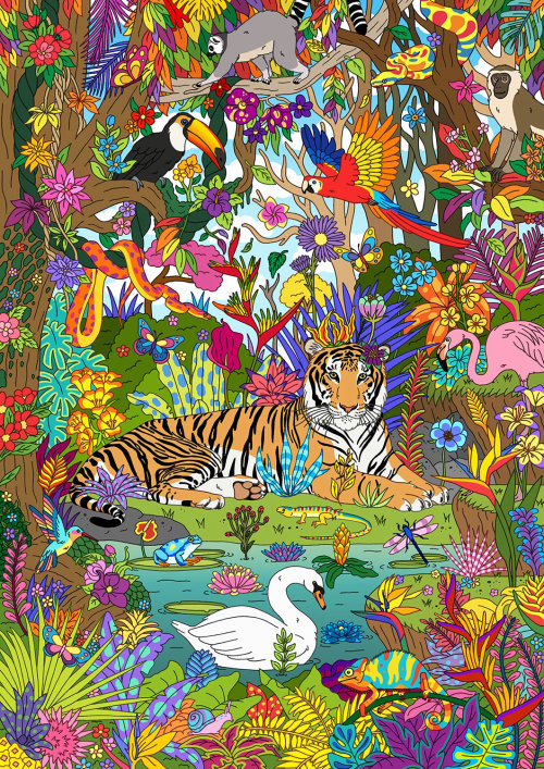 Paraíso da selva com animais e pássaros