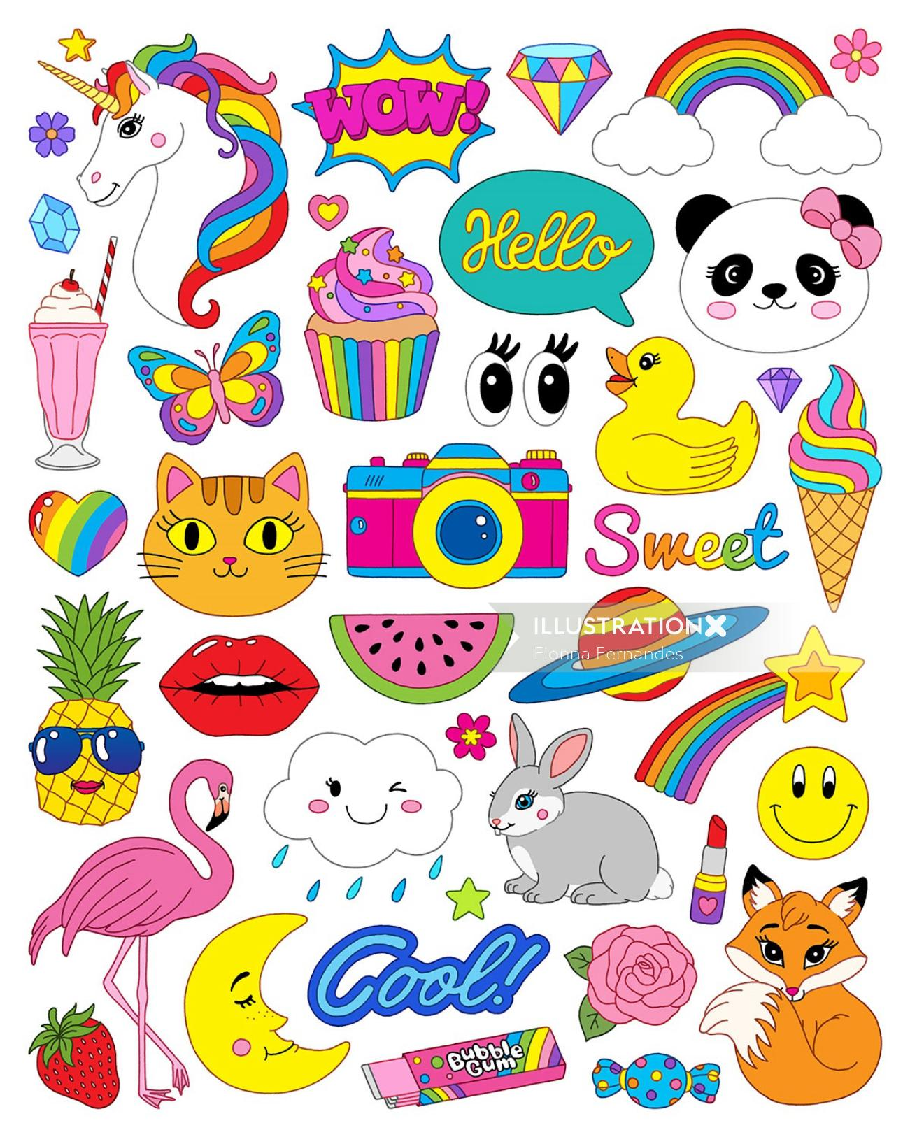 Stylistic collage of girl stickers