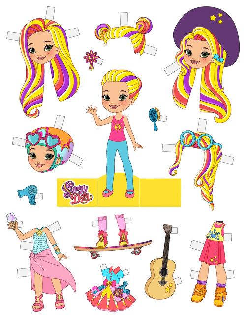 Personagens de desenhos animados Sunny Day Paper Doll para Nick Jr.