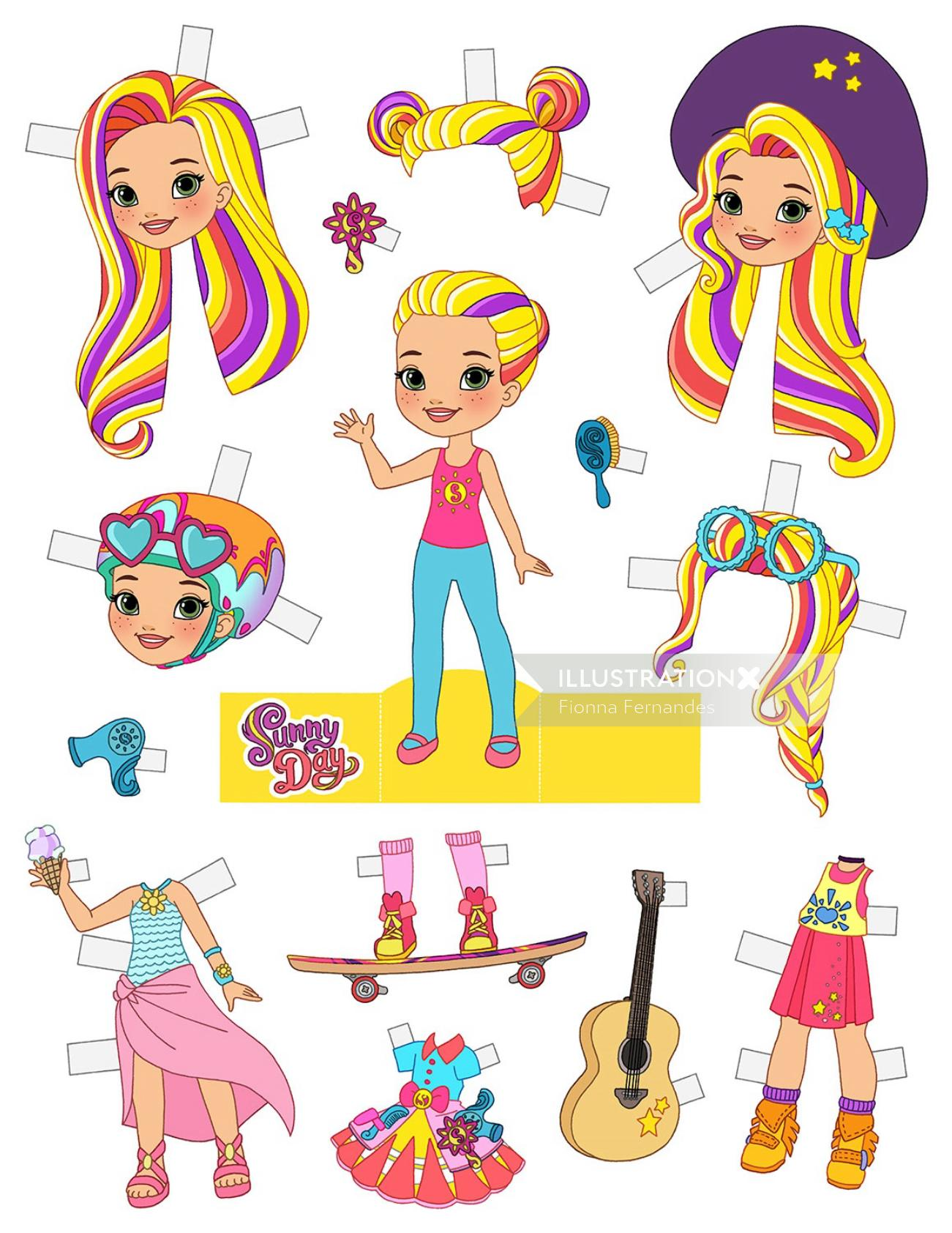 Cartoon characters Sunny Day Paper Doll for Nick Jr.