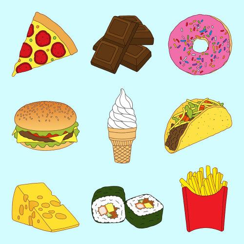 Colagem de cartaz de alimentos saborosos