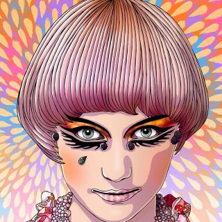 Fashion illustration of woman in mushroom hairstyle
