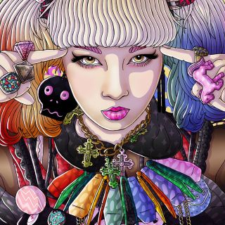 Portrait illustration of harajuku