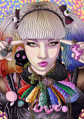 Portrait illustration of harajuku