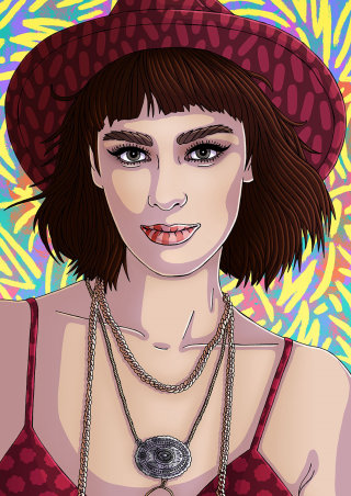 Portrait art of woman with wine wool hat