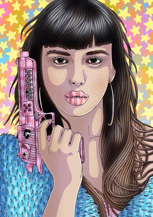 Retrato de Emily Bador com arma