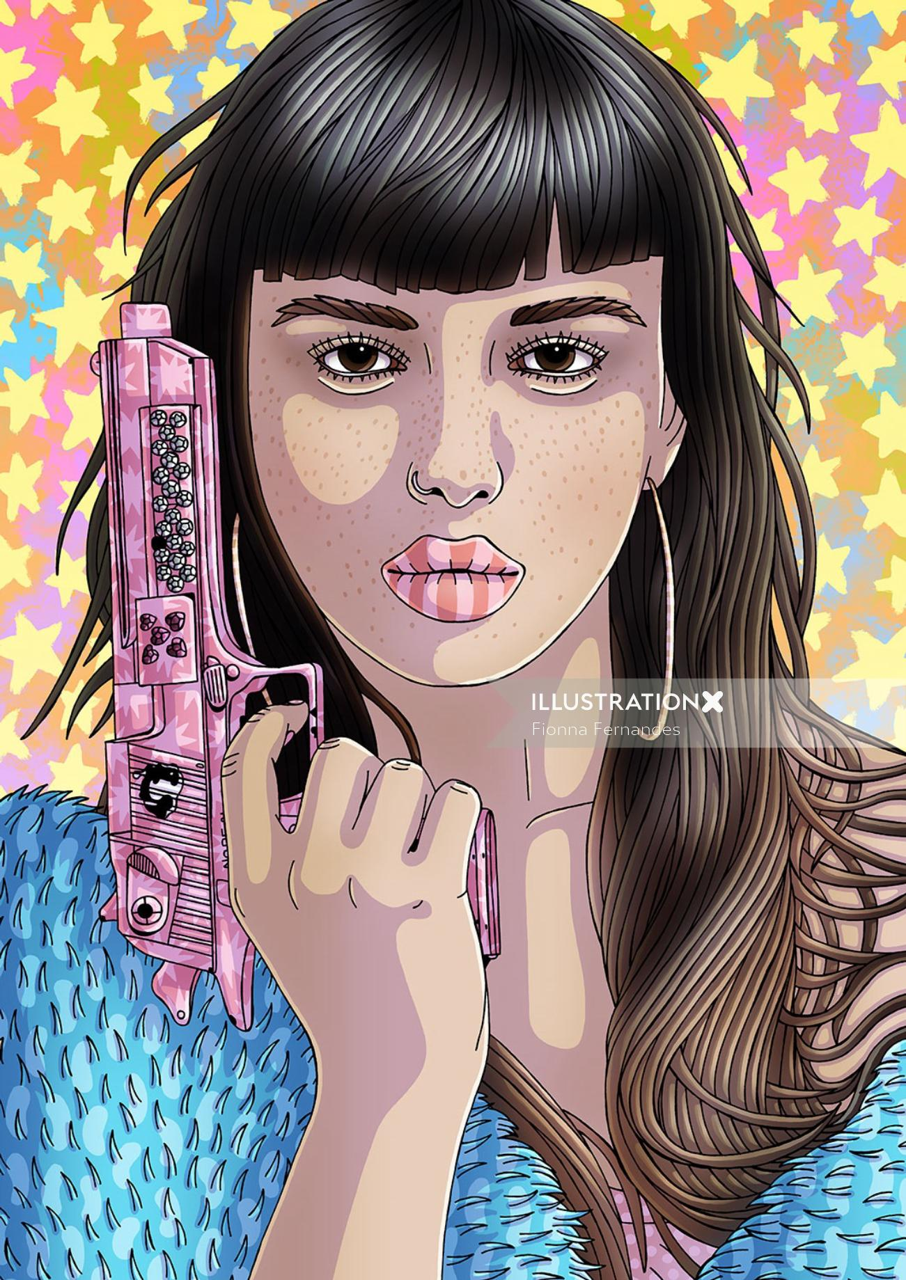 Portrait Of Emily Bador With Gun