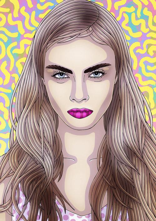 Arte finala do retrato pelo ilustrador baseado Sydney