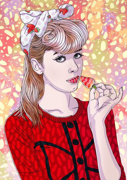 Retrato de moda beleza Strawberry Fields Forever