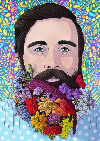 Decorative Illustration of Floral Beard Guy
