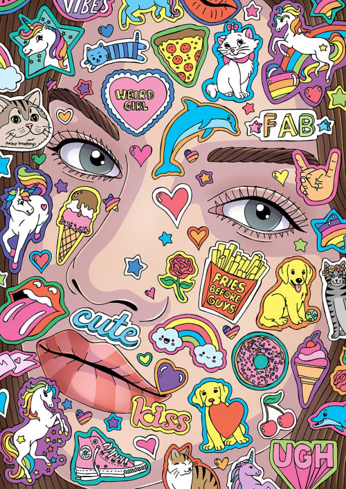 Woman face with stickers