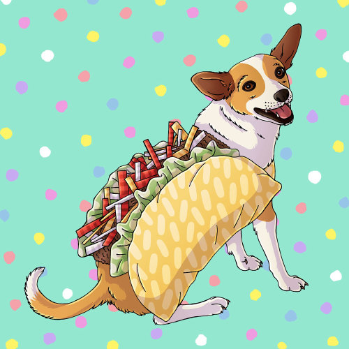 Taco Dog Portrait Artwork By Fionna Fernandes