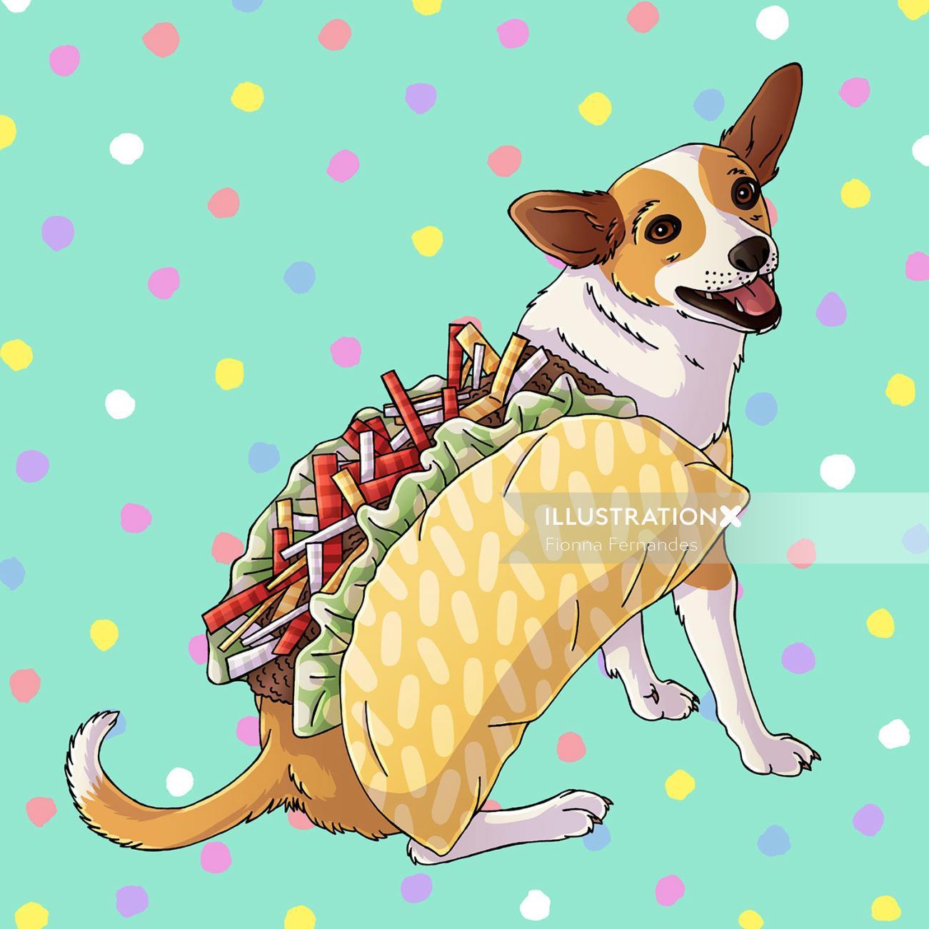 Taco Dog Portrait Artwork By Fionna Fernandes