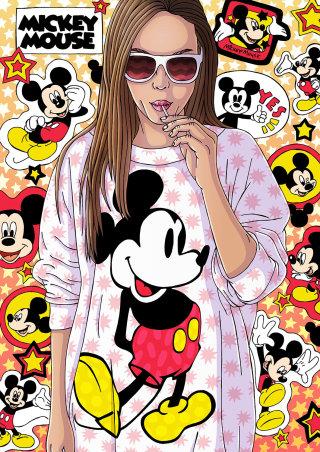 Stylish Women Wearing Mickey Mouse Tee
