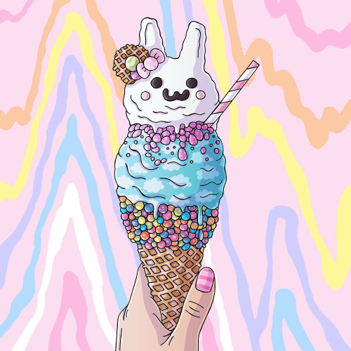 Blue Bunny Ice Cream Acrylic Painting
