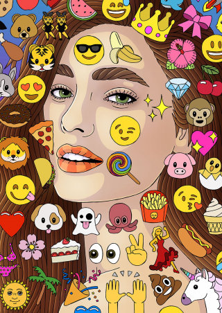 An illustration of emoji stickers covering face